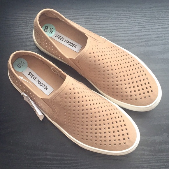 1b57ac3f833 NWT Steve Madden Camel Perforated Slip On Sneakers